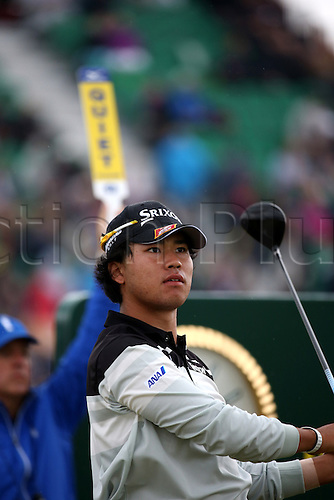 19.07.2014. Hoylake, England.   Hideki Matsuyama of Japan tees off on the 17th hole during the third round of the 143rd British Open Championship at Royal Liverpool Golf Club in Hoylake, England.