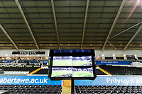 A screen of the Video Assistant Referee VAR system on the pitch side during The Emirates FA Cup match between Swansea City and Notts County at The Liberty Stadium, Swansea, Wales, UK. Tuesday 06 February 2018