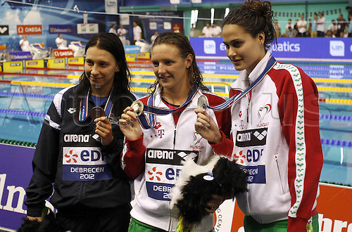 21.05.2012.  Debrecen Hungary. Len European Championships 400m Documents for women Award Ceremony Picture shows Barbora  CZE Katinka Jakaband Katinka Hosszu Hun with their Medals