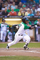 Jeter Downs (2) of the Dayton Dragons follows through on his swing against the Bowling Green Hot Rods at Fifth Third Field on June 8, 2018 in Dayton, Ohio. The Hot Rods defeated the Dragons 11-4.  (Brian Westerholt/Four Seam Images)