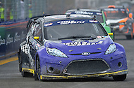 Washington, DC - June 22, 2014: Steve Arpin drives the #00 Ford Fiesta into Turn 10 during the final supercar race of Red Bull Global Rallycross on the grounds of RFK Stadium in the District of Columbia, June 22, 2014.  (Photo by Don Baxter/Media Images International)