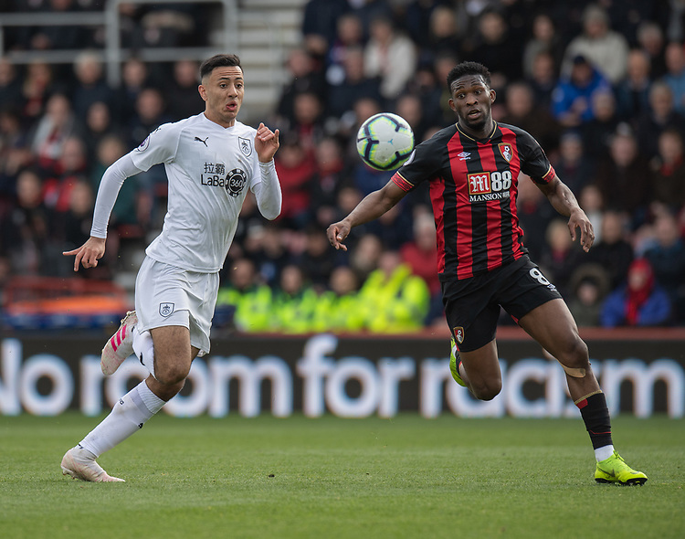 Burnley's Dwight McNeil (left) vies for possession with Bournemouth's Jefferson Lerma (right)<br /> <br /> Photographer David Horton/CameraSport<br /> <br /> The Premier League - Bournemouth v Burnley - Saturday 6th April 2019 - Vitality Stadium - Bournemouth<br /> <br /> World Copyright © 2019 CameraSport. All rights reserved. 43 Linden Ave. Countesthorpe. Leicester. England. LE8 5PG - Tel: +44 (0) 116 277 4147 - admin@camerasport.com - www.camerasport.com