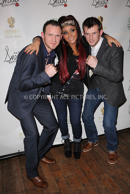 WWW.ACEPIXS.COM . . . . . .January 12, 2012, New York City.... Nicole 'Snooki' Polizzi (center) poses with boxers Patrick Hyland and Paul Hyland at the Team Snooki Boxing press conference at McFadden's Saloon on January 12, 2012 in New York City. ....Please byline: KRISTIN CALLAHAN - ACEPIXS.COM.. . . . . . ..Ace Pictures, Inc: ..tel: (212) 243 8787 or (646) 769 0430..e-mail: info@acepixs.com..web: http://www.acepixs.com .