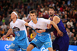 League ACB-ENDESA 2018/2019. Game: 14.<br /> FC Barcelona Lassa vs Monbus Obradoiro: 79-73.<br /> Kyle Singler, Vladimir Brodziansky &amp; Ante Tomic.