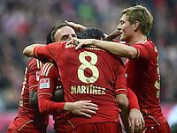 FUSSBALL   1. BUNDESLIGA  SAISON 2012/2013   11. Spieltag FC Bayern Muenchen - Eintracht Frankfurt    10.11.2012 Jubel Franck Ribery mit Javi , Javier Martinez und Toni Kroos  (v. li., FC Bayern Muenchen)