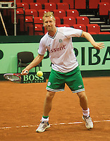 11-sept.-2013,Netherlands, Groningen,  Martini Plaza, Tennis, DavisCup Netherlands-Austria, Practice, Footbal Club FC Groningen is visiting the Dutch Daviscup team, Rasmus Lindgren (football) <br /> Photo: Henk Koster