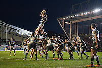 Stuart Hooper of Bath Rugby rises high to win lineout ball. Aviva Premiership match, between Leicester Tigers and Bath Rugby on November 29, 2015 at Welford Road in Leicester, England. Photo by: Patrick Khachfe / Onside Images