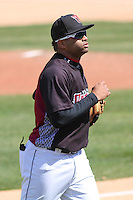 Wisconsin Timber Rattlers third baseman Sthervin Matos (9) during a game against the Peoria Chiefs on April 25th, 2015 at Fox Cities Stadium in Appleton, Wisconsin.  Wisconsin defeated Peoria 2-0.  (Brad Krause/Four Seam Images)