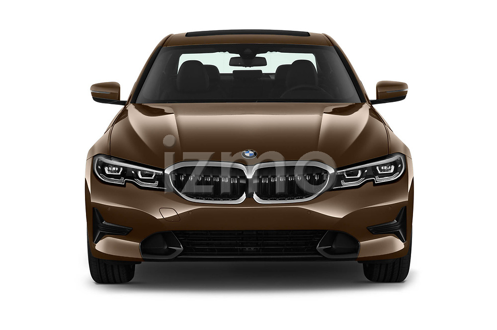 Car photography straight front view of a 2019 BMW 3-Series-Sedan 330i-Sport-Line 4 Door Sedan Front View