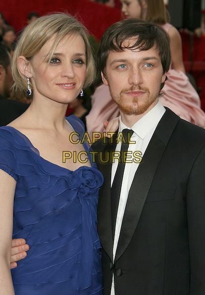 ANNE-MARIE DUFF & JAMES McAVOY.The 80th Annual Academy Awards Arrivals held at the Kodak Theatre, Hollywood, California, USA,.24 February 2008..oscars half length blue dress black suit married couple husband wife.CAP/ADM/RE.?Russ Elliot/Admedia/Capital Pictures