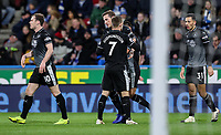 Burnley's Chris Wood celebrates scoring his side's first goal with his team mates<br /> <br /> Photographer Andrew Kearns/CameraSport<br /> <br /> The Premier League - Huddersfield Town v Burnley - Wednesday 2nd January 2019 - John Smith's Stadium - Huddersfield<br /> <br /> World Copyright © 2019 CameraSport. All rights reserved. 43 Linden Ave. Countesthorpe. Leicester. England. LE8 5PG - Tel: +44 (0) 116 277 4147 - admin@camerasport.com - www.camerasport.com