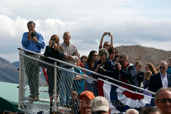 Chris Detrick  |  The Salt Lake Tribune.Spectators watch the ribbon cutting during the Grand Opening Celebration of the Quarry Exhibit Hall at Dinosaur National Monument Tuesday October 4, 2011. The old Quarry Exhibit Hall was closed in July 2006 due to safety hazards. The Carnegie Quarry contains nearly 1,500 fossils.  In addition to the fossil wall, the facility features exhibits about dinosaurs and other life from the Jurassic period.