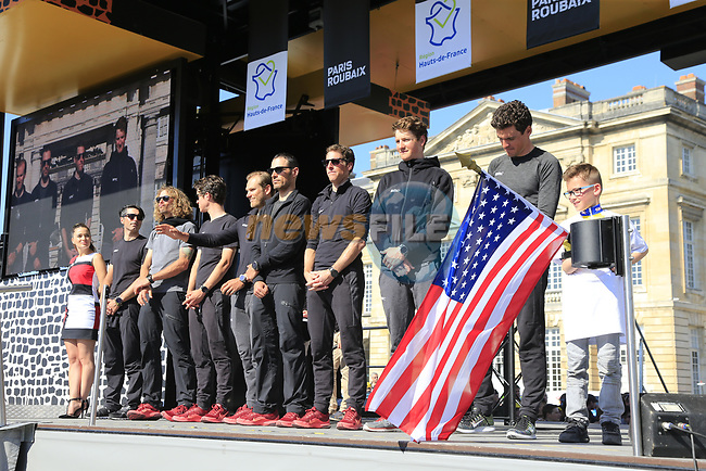 BMC Racing Team at the Team Presentation for the upcoming 115th edition of the Paris-Roubaix 2017 race held in Compiegne, France. 8th April 2017.<br /> Picture: Eoin Clarke | Cyclefile<br /> <br /> <br /> All photos usage must carry mandatory copyright credit (&copy; Cyclefile | Eoin Clarke)