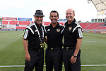09 August 2014: Match officials. From left: Assistant referee Paul Scott, Referee Hilario Grajeda, and assistant referee Bill Dittmar. Real Salt Lake hosted DC United at Rio Tinto Stadium in Sandy, Utah in a 2014 Major League Soccer regular season game. Salt Lake won the game 3-0.