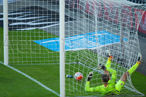 01.06.2016  Ullevaal Stadion, Oslo, Norway.   Sverrir Ingi Ingason  of Iceland scores an own goal past his keeper Ogmundur Kristinsson during the International Football Friendly match between Norway versus Iceland at  Ullevaal Stadion in Oslo, Norway.