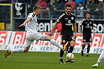 GER - Sandhausen, Germany, March 19: During the 2. Bundesliga soccer match between SV Sandhausen (white) and FC ST. Pauli (grey) on March 19, 2016 at Hardtwaldstadion in Sandhausen, Germany. (Photo by Dirk Markgraf / www.265-images.com) *** Local caption *** Damian Rossbach #4 of SV Sandhausen, Enis Alushi #19 of FC St. Pauli
