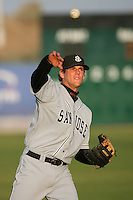 April 28 2009: Conor Gillaspie of the San Jose Giants before game against the Lancaster JetHawks at Clear Channel Stadium in Lancaster,CA.  Photo by Larry Goren/Four Seam Images