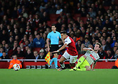 14th September 2017, Emirates Stadium, London, England; UEFA Europa League Group stage, Arsenal versus FC Cologne; Alexis Sanchez of Arsenal is fouled by Lukas Klunter of FC Koln and awarded a free kick