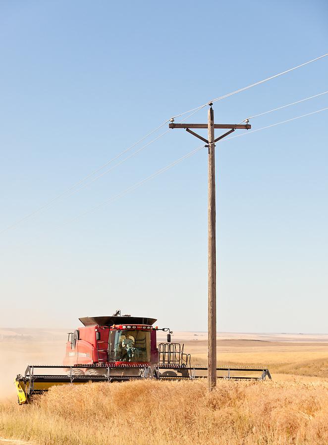 A Case 8120 combine harvests wheat in a field in Almira, Washington.