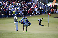 Henrik Stenson (SWE) waits for Soren Kjeldsen (DEN) to putt out on the 8th during Round Two of the 2015 Nordea Masters at the PGA Sweden National, Bara, Malmo, Sweden. 05/06/2015. Picture David Lloyd | www.golffile.ie