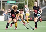 AMSTELVEEN - Hockey - Hoofdklasse competitie dames. AMSTERDAM-DEN BOSCH (3-1). Frederique Matla (Den Bosch) met  links Maria Verschoor (A'dam). rechts Eva de Goede (A'dam) .   COPYRIGHT KOEN SUYK