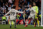 Real Madrid's Alvaro Odriozola (L) and Dani Ceballos (R) celebrate goal during La Liga match between Real Madrid and SD Huesca at Santiago Bernabeu Stadium in Madrid, Spain. March 31, 2019. (ALTERPHOTOS/A. Perez Meca)