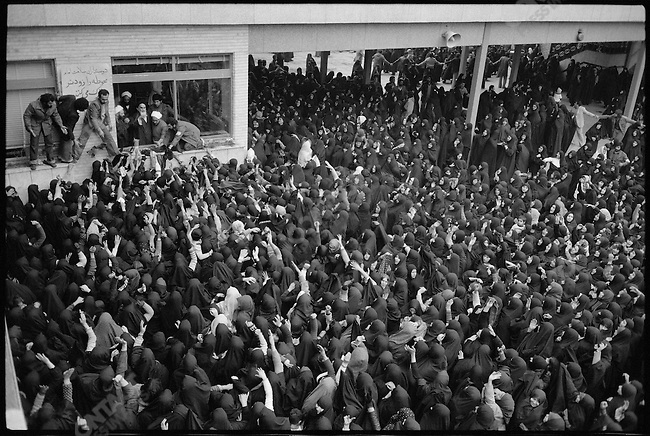 Rally at the Alavi school, temporary headquarters of the Ayatollah Khomeini. Tehran, Iran, February 1979.