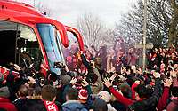 Liverpool fans cheer as the team bus arrives at Anfield<br /> <br /> Photographer Alex Dodd/CameraSport<br /> <br /> The Premier League - Liverpool v Manchester United - Sunday 19th January 2020 - Anfield - Liverpool<br /> <br /> World Copyright © 2020 CameraSport. All rights reserved. 43 Linden Ave. Countesthorpe. Leicester. England. LE8 5PG - Tel: +44 (0) 116 277 4147 - admin@camerasport.com - www.camerasport.com