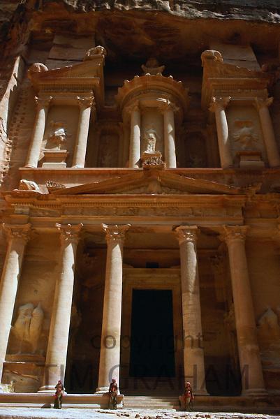 Treasury Building viewed from the Siq at  Petra, Jordan.