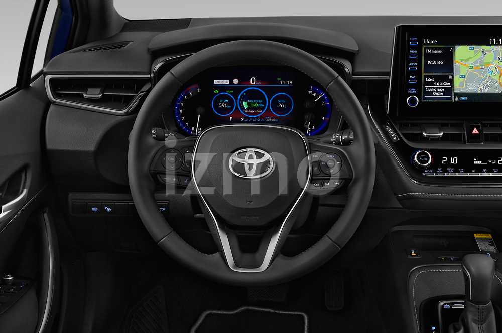 Car pictures of steering wheel view of a 2019 Toyota Corolla Touring Sports Premium 5 Door Wagon