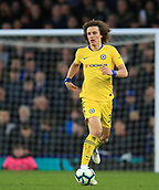 17th March 2019, Goodison Park, Liverpool, England; EPL Premier League Football, Everton versus Chelsea; David Luiz of Chelsea brings the ball out of defence