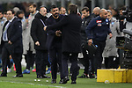Gennaro Gattuso Head coach of Napoli  and Antonio Conte Head coach of Inter embrace after the final whistle of the Coppa Italia match at Giuseppe Meazza, Milan. Picture date: 12th February 2020. Picture credit should read: Jonathan Moscrop/Sportimage
