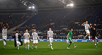 Calcio, Serie A: Lazio vs Juventus. Roma, stadio Olimpico, 4 dicembre 2015.<br /> Juventus&rsquo; players greet fans at the end of the Italian Serie A football match between Lazio and Juventus at Rome's Olympic stadium, 4 December 2015. Juventus won 2-0.<br /> UPDATE IMAGES PRESS/Isabella Bonotto