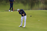Rickie Fowler Team USA plays his 2nd shot on the 9th hole during Friday's Fourball Matches at the 2018 Ryder Cup, Le Golf National, Iles-de-France, France. 28/09/2018.<br /> Picture Eoin Clarke / Golffile.ie<br /> <br /> All photo usage must carry mandatory copyright credit (© Golffile | Eoin Clarke)