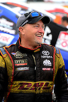 Nov. 8, 2012; Pomona, CA, USA: NHRA funny car driver Jeff Arend during qualifying for the Auto Club Finals at at Auto Club Raceway at Pomona. Mandatory Credit: Mark J. Rebilas-
