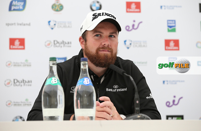 2009 Irish Open Champion Shane Lowry (IRL) in media interview, during Tuesday's practice round ahead of the 2016 Dubai Duty Free Irish Open Hosted by The Rory Foundation which is played at the K Club Golf Resort, Straffan, Co. Kildare, Ireland. 17/05/2016. Picture Golffile | David Lloyd.<br /> <br /> All photo usage must display a mandatory copyright credit as: &copy; Golffile | David Lloyd.