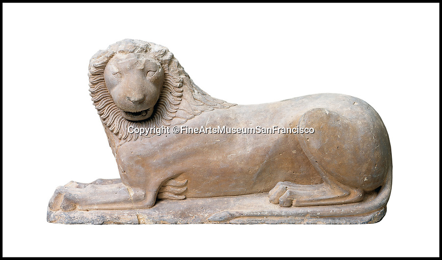 BNPS.co.uk (01202 558833)<br /> Pic: FineArtsMuseumSanFrancisco/BNPS<br /> <br /> Now: The Loutracki Lion (550BC).<br /> <br /> The traditional view of the classical world full of austere white marble statue's and buildings has been transformed by a new book - that reveals the ancient world was in fact full of vibrant colours.<br /> <br /> Painstaking new research has discovered that most of the worlds most iconic art works from ancient Greece and Rome were in fact plastered with vibrant colours.<br /> <br /> However over the centuries the bright colours faded due to exposure to the elements and Renaissance maestros like Leonardo da Vinci and Michelangelo working in the 15th century believed it was the norm for sculptures to be white.<br /> <br /> Now, scientists are able to use ultra-violet photography to examine ancient pigment's and recreate how sculptures dating back to the Classical age would have looked.