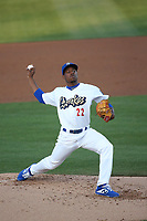 Josiah Gray (22) of the Rancho Cucamonga Quakes pitches against the Lancaster JetHawks at LoanMart Field on June 4, 2019 in Rancho Cucamonga, California. (Larry Goren/Four Seam Images)