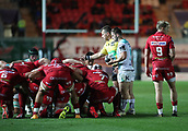 29th September 2017, Parc y Scarlets, Llanelli, Wales; Guinness Pro14 Rugby, Scarlets versus Connacht; Caolin Blade of Connacht awaits the scrum preparations