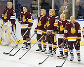 Aaron Crandall (Duluth - 31), Kyle Schmidt (Duluth - 7), Wade Bergman (Duluth - 28), Justin Faulk (Duluth - 25), Jake Hendrickson (Duluth - 15), J.T. Brown (Duluth - 23) - The University of Minnesota-Duluth Bulldogs defeated the Union College Dutchmen 2-0 in their NCAA East Regional Semi-Final on Friday, March 25, 2011, at Webster Bank Arena at Harbor Yard in Bridgeport, Connecticut.
