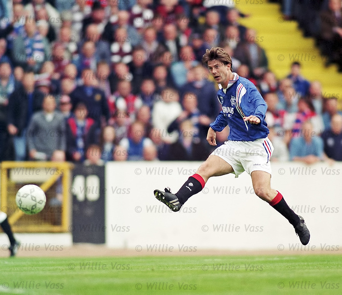 Brian Laudrup rifles in the ball to score one of his goals during the 1996 Scottiah Cup Final