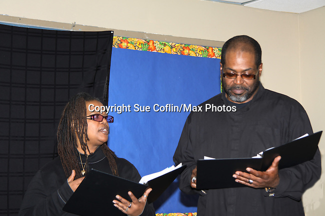"KimDeon and Michael Davis are part of the cast of To Do List - Evern Gillard-Randolph, playwright and founder of Grandparents Around the World, presents her new play ""To Do List"" in a first play reading on December 7, 2013 at the Salvation Army Harlem Corps, New York, New York.  (Photo by Sue Coflin/Max Photos)"