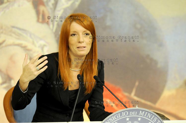 Roma, 21 Settembre 2011.Palazzo Chigi, sala stampa.Il ministro del Turismo, Michela Vittoria Brambilla