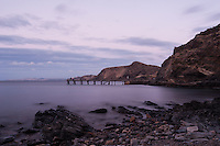 The Second Valley Jetty, under a faint purple sunset at dusk.