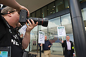 NUJ protest outside the offices of  Guardian News & Media against the company's plans to stop paying freelance photographers for re-use of their pictures.