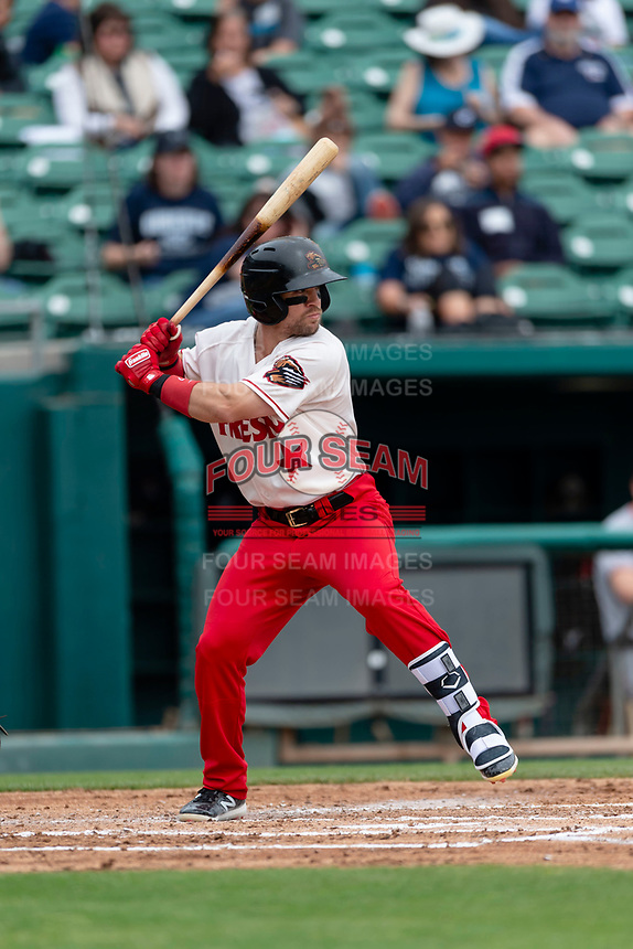 Fresno Grizzlies center fielder Collin Cowgill (7) batting during a game against the Reno Aces at Chukchansi Park on April 8, 2019 in Fresno, California. Fresno defeated Reno 7-6. (Zachary Lucy/Four Seam Images)