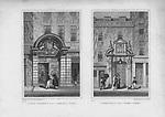 Barber Surgeon's Hall, Monkwell Street, Fishmonger's Hall, Thames Street, engraving 'Metropolitan Improvements, or London in the Nineteenth Century' London, England, UK 1828
