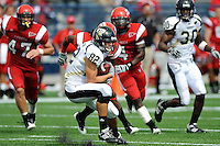 31 October 2009:  FIU wide receiver Greg Ellingson (82) pulls in a Paul McCall pass in the fourth quarter as the FIU Golden Panthers defeated the Louisiana-Lafayette Ragin' Cajuns, 20-17, in overtime at FIU Stadium in Miami, Florida.