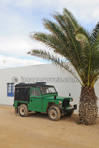 Spain, Canary Islands, Archipielago Chinijo, Isla Graciosa, Caleta del Sebo. Spanish Lightweight. Land Rover Santana Ligero 88. --- No releases available. Automotive trademarks are the property of the trademark holder, authorization may be needed for some uses.