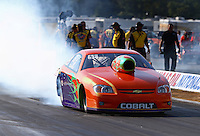 Aug. 16, 2013; Brainerd, MN, USA: NHRA pro stock driver Dave River during qualifying for the Lucas Oil Nationals at Brainerd International Raceway. Mandatory Credit: Mark J. Rebilas-